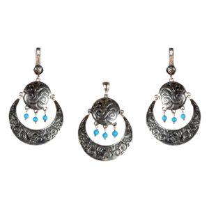 серебряные серьги полумесяц с камнями