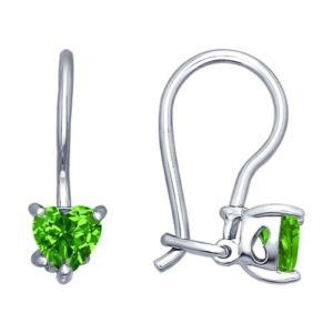 купить детские серьги из серебра с зеленым камнем в Алматы