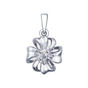 купить кулон цветок серебро