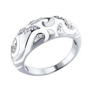 Купить кольцо с белой эмалью в Алматы