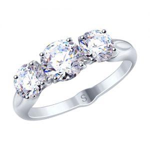 купить кольцо с 3 камнями соколов